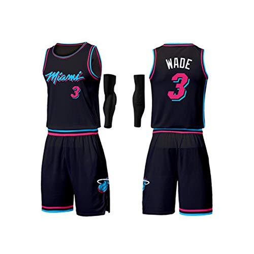 FNBA Miami Heat # 3 Dwyane Wade Urban Version des Benutzerdefinierten Basketball-Trikots - Machen Sie Ihr Basketball-Trikot - Personalisierte Team-Uniformen-Black-XXL