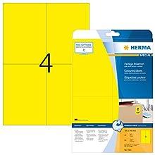 HERMA Etichette per Marcatura, 105 x 148 mm, Etichette Adesive A4 per Stampante, 4 Etichette per Foglio, Giallo