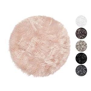 Taracarpet Kunstfell Teppich rosa 045x045 cm rund Schaffell Imitat Wohnzimmer Schlafzimmer Kinderzimmer auch als Bett-Vorleger oder als Matte für Stuhl Sofa