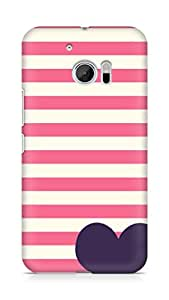 Amez designer printed 3d premium high quality back case cover for Htc One M10 (horizontal lines heart)