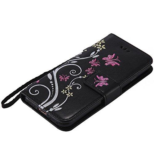 iPhone 7 4.7 Case,MAGQI Premio Super Slim Fit Flip Pelle Sintetica Portafoglio Stile del Libro Custodia Borsa Con Slot Per Schede Funzione Dello Stand Chiusura Magnetica Sbalzato Rosa Fiore Farfalla Nero