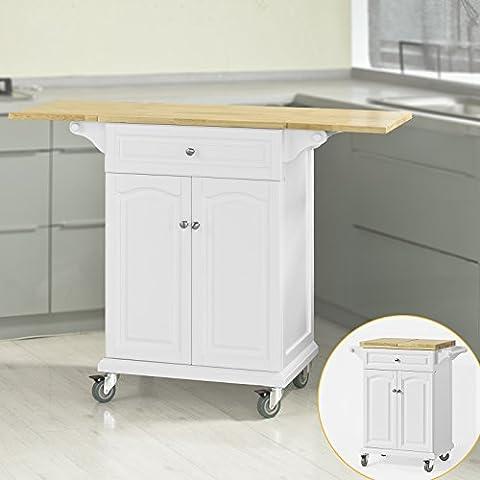 SoBuy® Servierwagen, Küchenwagen,Küchenregal, Rollwagen mit klappbare/erweiterbarer Arbeitsfläche, FKW36-WN
