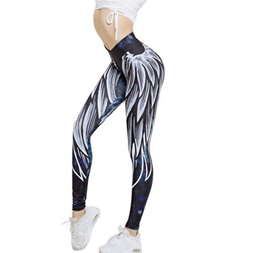 SHOBDW Sexy Sportlich Womens Flügel gedruckt Yoga Skinny Workout Leggings Fitness Sport beschnitten Hosen (S, Blau) (80 S Womens Kleidung)