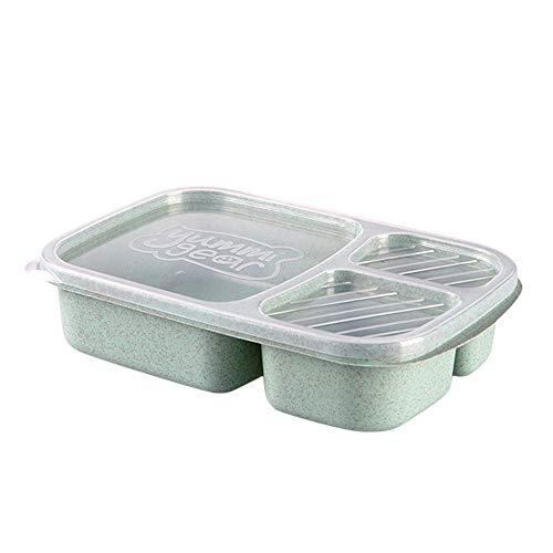 Wawer Mikrowelle Bento Box Lunch Box Picknick Essen Obst Container Aufbewahrungsbox für Kinder Erwachsene Mittagessen-Behälter mit Trennwand (Grün) Bento Essen