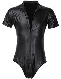 iiniim Herren Catsuit Lackleder Gothic Anzug Fetisch Männer Overall Bodysuit Schwarz S-XXL