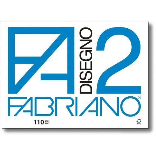 Fabriano F2 06000534, Album da Disegno, Formato 33 x 48 cm, Fogli Ruvidi, Grammatura 110gr/m2, 12 Fogli