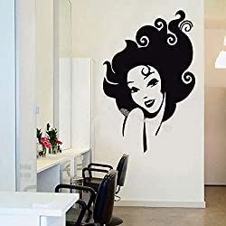 woyaofal Beautiful Lady Curly Hair Wall Sticker Beauty Salon Decor Barbershop Hairstyle Designer Wallpaper Vinyl Poster Mural 80x123cm