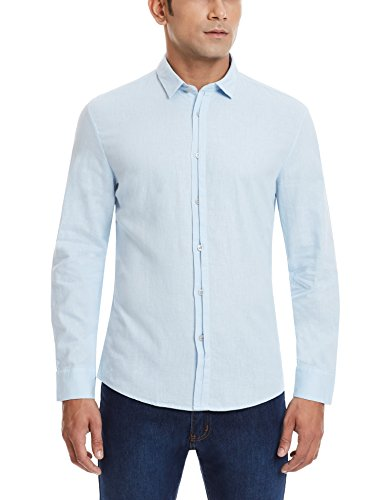 Calvin Klein Men's Casual Shirt (036182042262_4ASWC55_Large_Blue)  available at amazon for Rs.3149