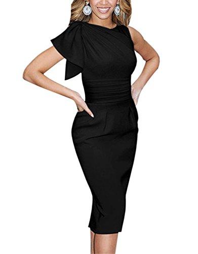 Paskyee Damen Berühmtheit Elegant Geraffte Prom Bodycon Party Abendkleid schlank Business-Kleid