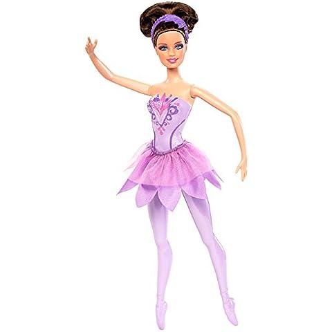 Barbie - Muñeca bailarina con zapatos y traje color purpura (Mattel X8823)