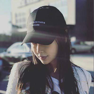 HKHJN Hut weiblicher Kappenfrühling und -sommer mit Mann- und Frauenvisierbaseball-Hip-Hop-Entenzungenhutfluthut HKHJN (Color : Yang Ying MAD Black-Adjustable) -