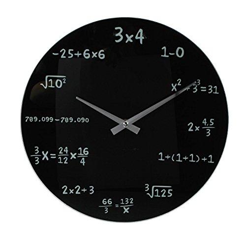 levandeo Designer Wanduhr aus Glas INKLUSIV Batterie - 35cm schwarz - Mathe Mathematik mathematic Zahlen Formeln - Design Uhr Glasuhr 35 cm rund