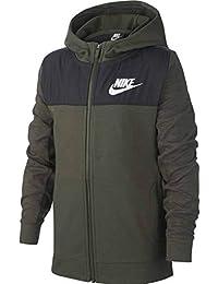 Nike B NSW Hoodie FZ Advance Sudadera, Niños, Cargo Khaki/Black/White