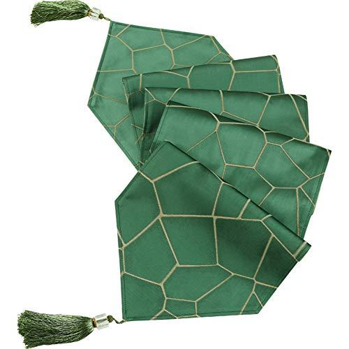 e Luxus Jacquard Stoff Floral Damast Tischläufer und Kommode Schals mit Multi-Quasten, grün,11.8