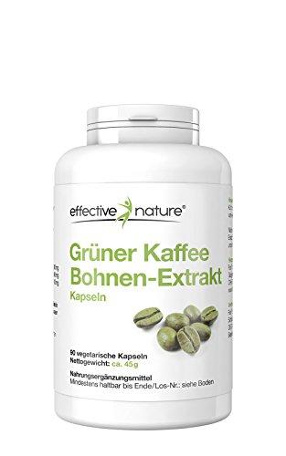 effective nature Grüner Kaffeebohnen Extrakt - 90 vegetarische Kapseln - 60mg Koffein pro Kapsel - oher Chlorogensäure-Gehalt (200 mg/Kapsel) - auf die Bikini-Saison vorbereiten