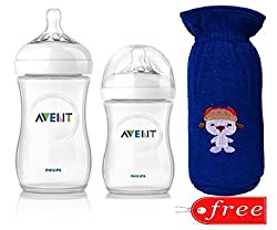 Philips Avent 330ml Natural Feeding Bottle (3M+) With 260ml Natural Feeding Bottle (1M+)Bottle Cover FREE