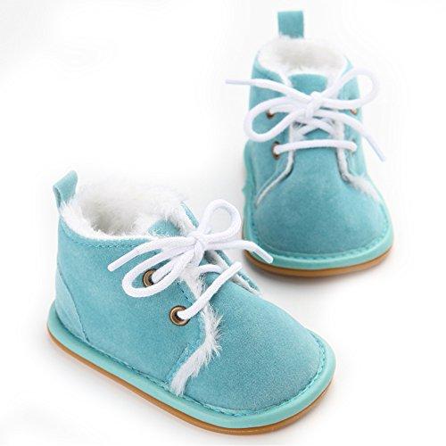 Chaussures bébé d'hiver doux Sole Bébé Garçon Fille Chaussures Premiers Pas (M: 6~12 mois, Rose) Bleu
