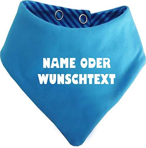 KLEINER FRATZ Kinder Wendehalstuch uni/gestreift (Farbe aqua-kobalt) (Gr. 1 (0-74)) mit Ihrem Wunschdruck