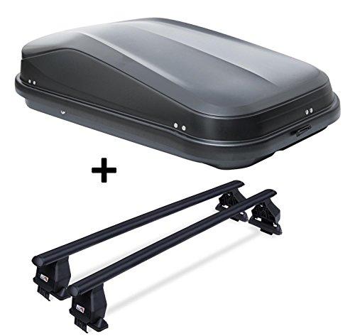 Dachbox JUEASY320 schwarz glänzend abschließbar 320 Ltr + Dachträger Menabo Tema für Nissan Micra (5Türer) 2010-2017 Stahl (Dachträger 50x70)
