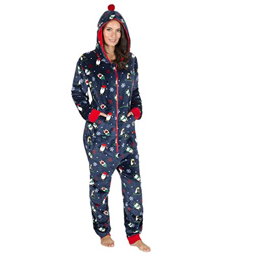 cd3d740f0c2279 ONEZEE Unisex Womens and Mens Novelty Christmas Hooded Flannel Fleece  Jumpsuit Navy m-l