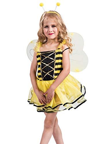 A&J DESIGN Kinderkostüm Mädchen Ballerina-Biene Feen Tutu Ballett Kleider (Gelb, L)