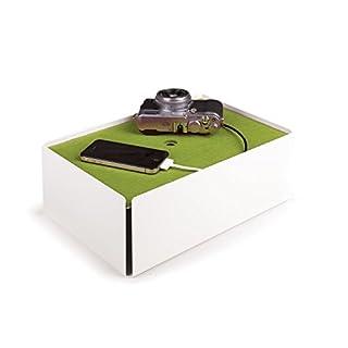 Konstantin Slawinski Charge-Box weiß-grün / Kabelbox für Ladegeräte oder Mehrfachsteckdosen / 31,5x21x11,5cm