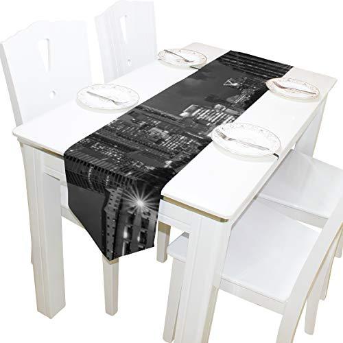 Yushg Stadtstraße Landschaft schwarz Kommode Schal Tuch Abdeckung Tischläufer Tischdecke Tischset Küche Esszimmer Wohnzimmer Startseite Hochzeitsbankett Dekor Indoor 13 x 90 Zoll (In Tisch Runder Tücher 90 Schwarzer)