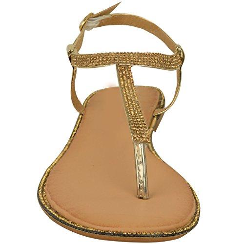Nuovo Donna Basse Sandali Infradito Sandali Con Strass donna Cinturino Alla Caviglia T-Bar Scarpe Numeri Oro metallizzato
