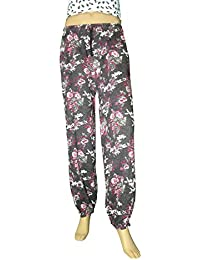 Irrot Women's Fine Harem Pants All Over Print (Black Base With White Print)