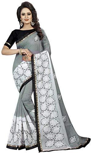 9fad685a434499 Shreeji Designer Women s Chanderi Cotton Ari Embroidered Work Saree with Blouse  Piece