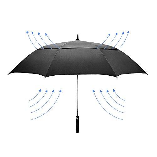 Dmkaka 154,9cm auto ombrello aperto ombrello extra large dual canopy golf umbrella, antivento e impermeabile, black