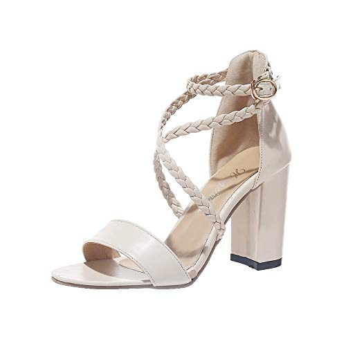 Wawer Sommer Damen Riemchen Abend Sandaletten High Heels Pumps Velours Peep Toes Party Schuhe Blockabsatz Kork-peep-toe-heels