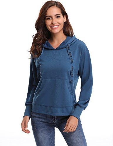 Abollria Damen Kapuzenpullover Langarm Baumwolle Hoodie Mädchen Sweatshirt mit Print Tunnelzugbänder ohne Futter für Frühling Blau