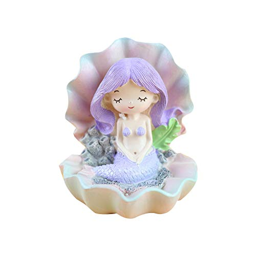 r aus Harz Märchen Meerjungfrau Figur Desktop Deko Statue 8,4 * 7,5 * 9,3 cm Lila Haare 1 Stück ()