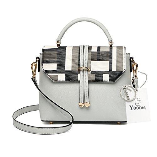 Borsa a bottone di Yoome stampare le borse della borsa della maniglia del manico per le donne sacchetto del sacchetto di trucco della borsa delle signore - bianco Grigio