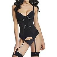 Bettydom Donne Bustino corsetto Sexy Cintura Cincher vita con Reggicalze, biancheria intima