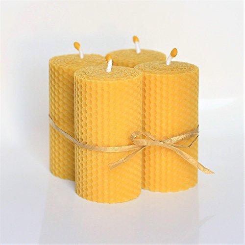 Velas de 100% Cera De Las Abejas Tamano 13 x 4 cm Juego De 4 Velas Aroma De Miel/Cera 100% Hecho A Mano