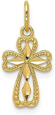 Beautiful Yellow gold 14K 14k Diamond-cut Polished Small Cross Pendant