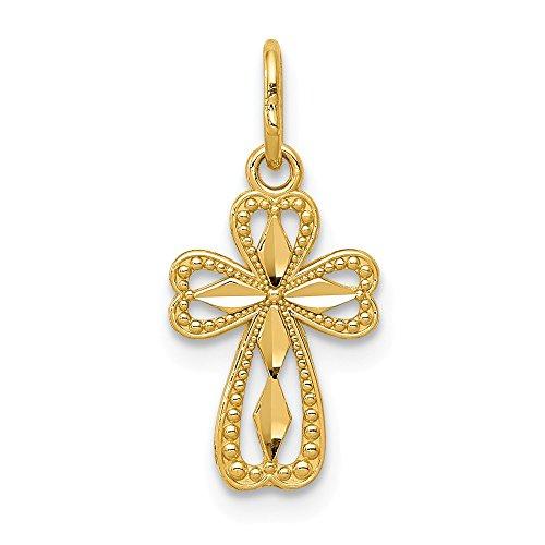 4K Gelb Gold Diamantiert Poliert Kreuz klein Anhänger ()