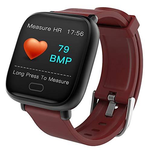 AIFB Farbbildschirm Smartwatch, Pulsmesser Wasserdicht Schrittzähler Schlaf-Tracker Aktivitäts-Tracker Intelligente Benachrichtigung Für Android iOS Phone,Red -