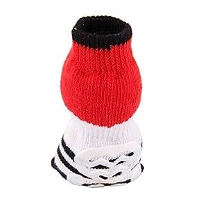 Lot de 4 Chaussettes Protecteurs de Pattes Antidérapant pour Chiot Petit Chien Motif de Panda Taille S