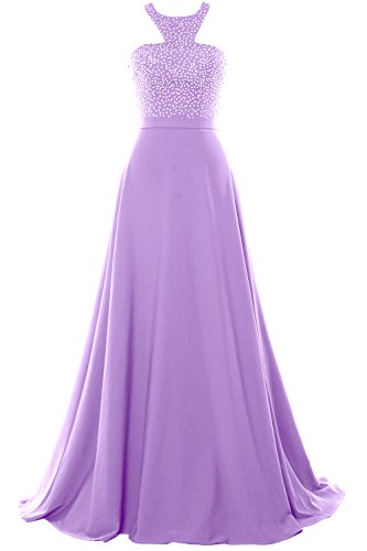 MACloth Halter Beading Chiffon Long Prom Party Dress 2018 Formal Evening Gown Lavande