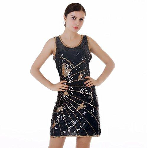 Wgwioo Schlanke Latin Dance Pailletten Kleider , Gold , F (Netto-short-partei-kleid)