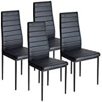 Dining Chairs Set of 4,Black High Back Faux Leather Padded Dining Chairs Kitchen Dining Room Furniture