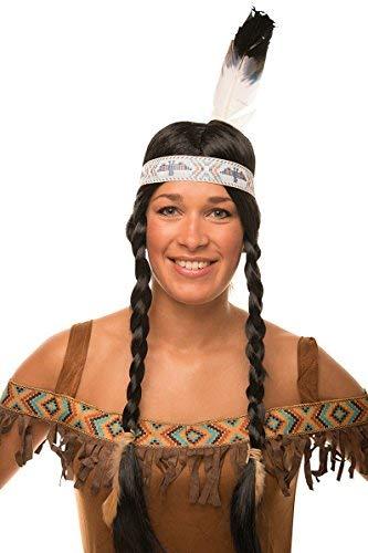 Indianer Perücke mit Zöpfen im Set in schwarz mit Feder für Herren & Damen Fasching ()