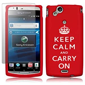 "SONY ERICSSON XPERIA ARC S RED/WHITE ""KEEP CALM & CARRY ON"" LASERED SOFT SILICONE SKIN / CASE / COVER / SHELL, WITH SCREEN PROTECTOR PART OF THE QUBITS ACCESSORIES RANGE"