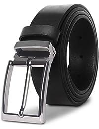 M.R Cinturón Hombre Cuero Cinturones de Piel Negro Marrón Clásico con hebilla plateada
