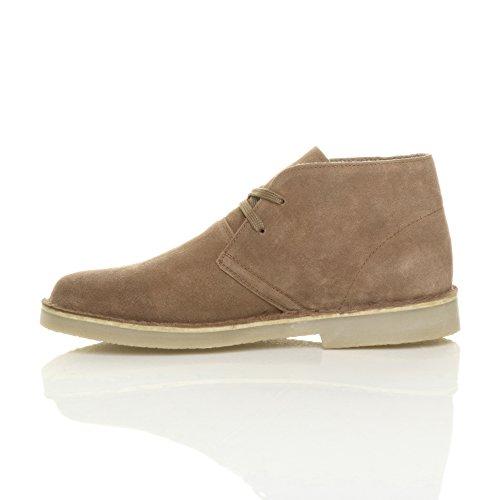 Hommes plat cuir daim desert travail cheville bottes chaussures pointure Taupe chameau