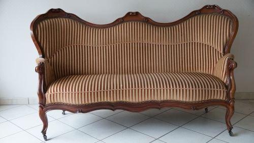 Sofa Couch Kolonial Barock Antik geschwungen 1840 - 1880 gestreift