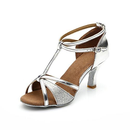 VESI - Damen Hoher Absatz Tanzschuhe Standard/Latein Silber 38(Absatz 5cm)